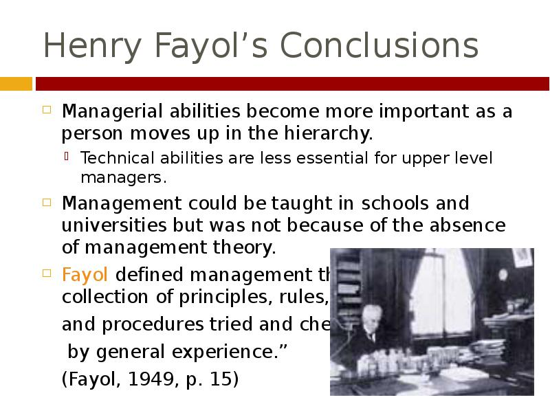 report on henri fayol management theory Henry fayol's 14 principles in management uploaded by alamin sumon connect to download get doc henry fayol's 14 principles in management download.