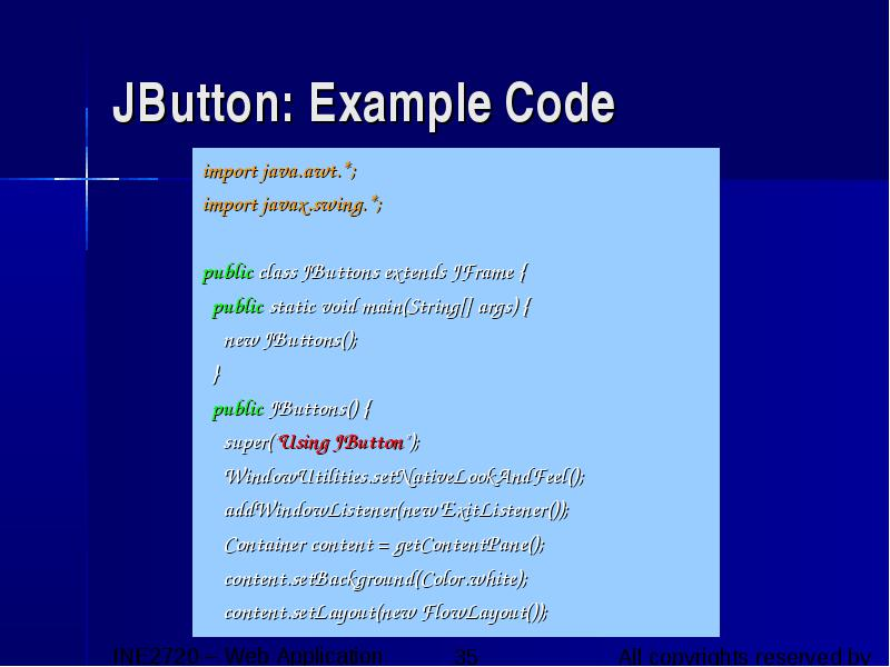 Java – gui graphical User Interface ine2720 Web Application